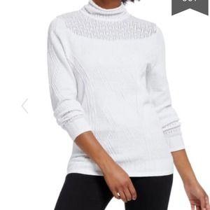 Nic + Zoe White Pointelle Textured Knit Sweater XL